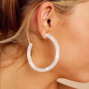 Resin White Hoop Earrings